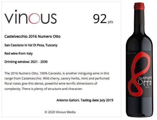Vinous - 92 pts NUMERO OTTO 2016